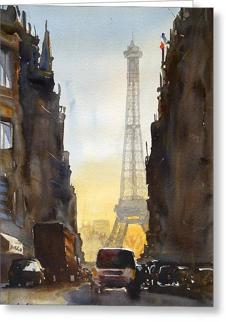 Dawn In Paris Greeting Card by James Nyika