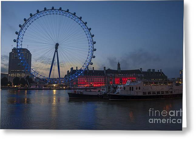 Dawn Light At The London Eye Greeting Card by Donald Davis