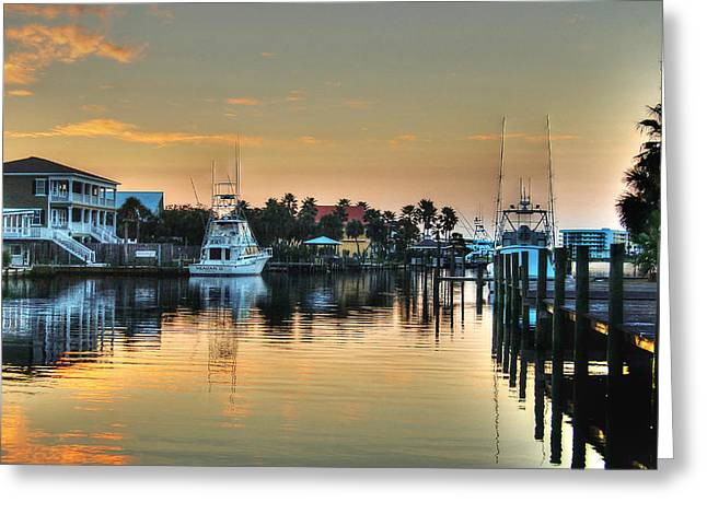 Dawn On A Orange Beach Canal Greeting Card