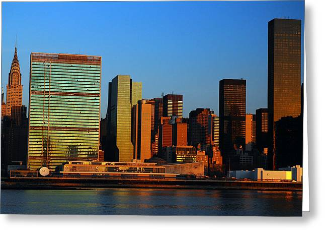 Greeting Card featuring the photograph Dawn On Manhattan by James Kirkikis