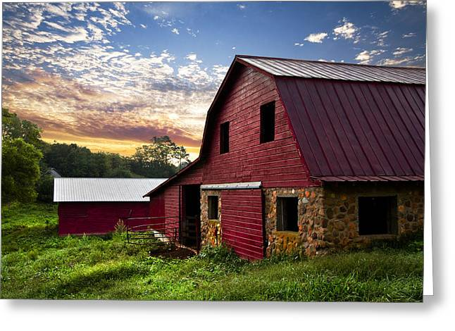 Dawn On The Dairy Farm Greeting Card by Debra and Dave Vanderlaan