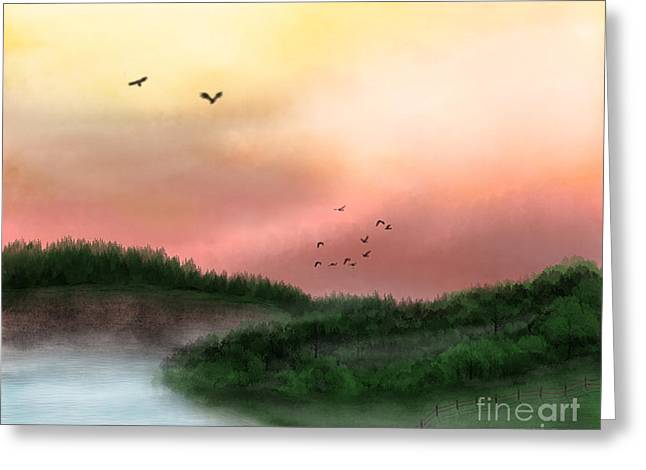 Dawn On The Lake Greeting Card