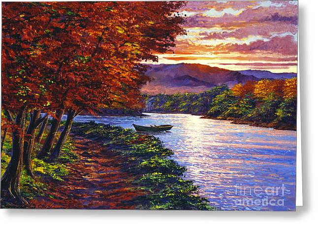 Dawn On The River Greeting Card by David Lloyd Glover