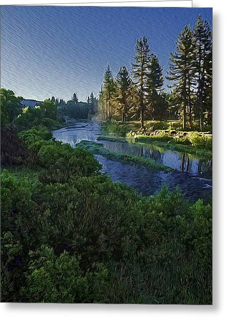 Dawn On The River Greeting Card by Nancy Marie Ricketts