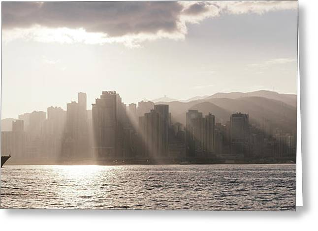 Dawn Over Central Business District Greeting Card by Panoramic Images