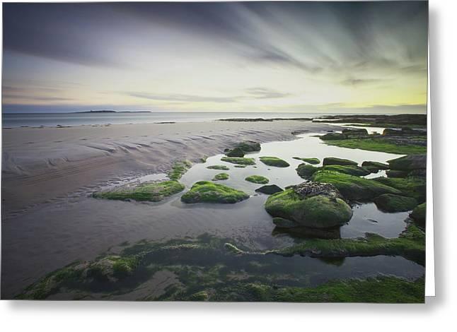 Dawn Over Seahouses Beach Greeting Card