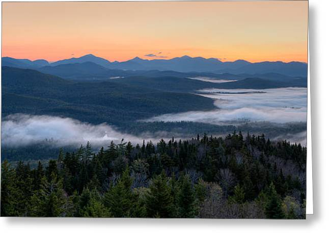 Dawn Over The High Peaks From Goodnow Greeting Card by Panoramic Images