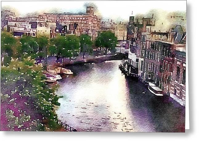 Greeting Card featuring the photograph Dawn Rain Amsterdam by Susan Maxwell Schmidt