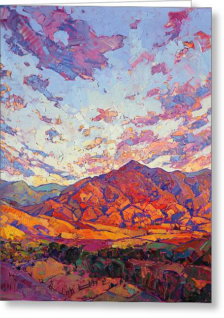 Greeting Card featuring the painting Dawn Rising by Erin Hanson