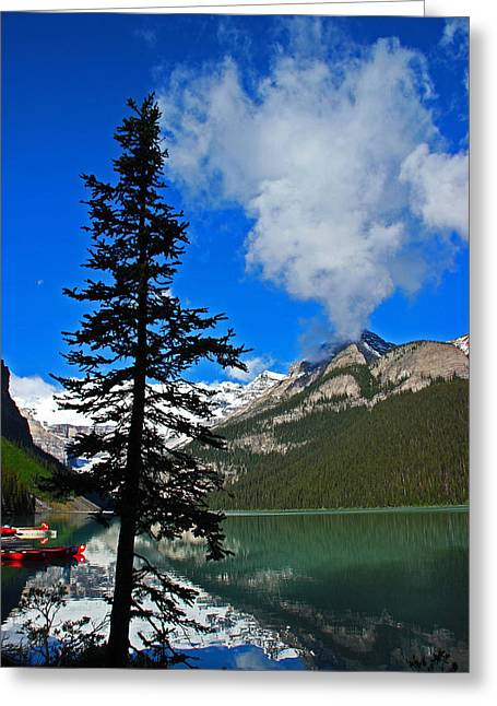 Dawn Silhouette At Lake Louise 8485 Greeting Card by Donald Sewell