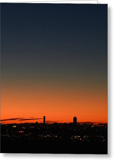Dawn Sky Over Boston Greeting Card