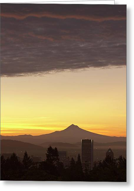 Dawn Sky Over Portland And Mt Greeting Card