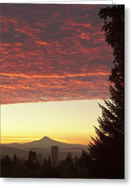 Dawn Sky Over Portland, Oregon Greeting Card
