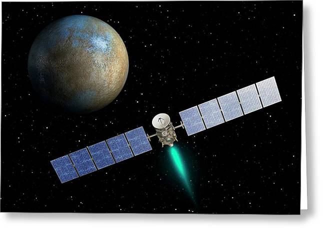 Dawn Spacecraft At Ceres Greeting Card by Nasa/jpl-caltech
