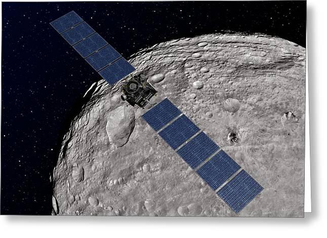 Dawn Spacecraft At Vesta Greeting Card by Nasa/jpl-caltech