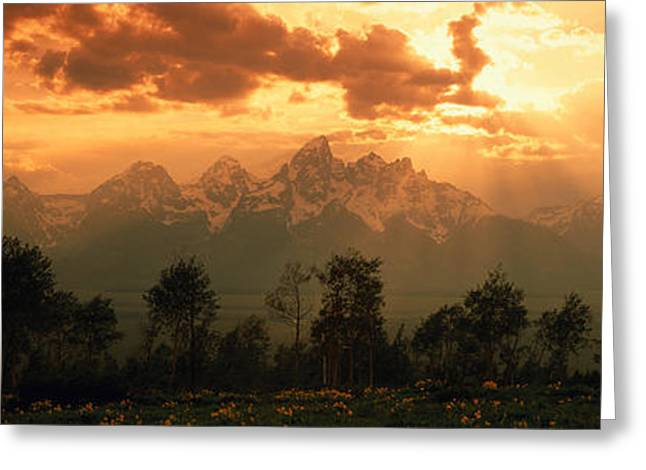 Dawn Teton Range Grand Teton National Greeting Card by Panoramic Images