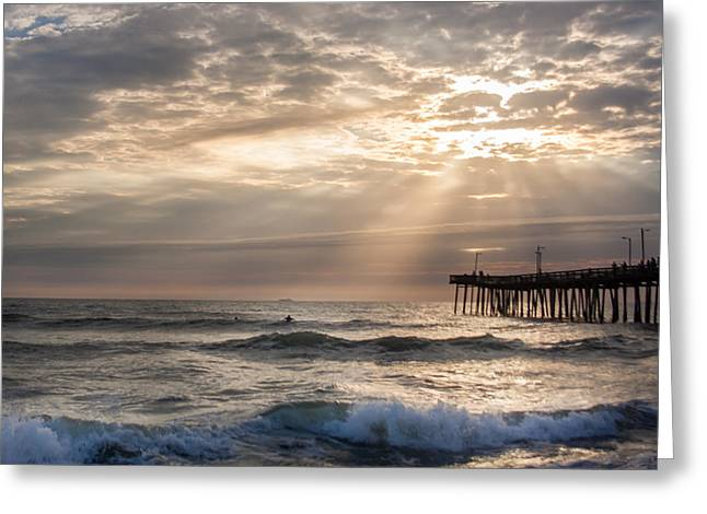 Dawns Ocean Rays Greeting Card