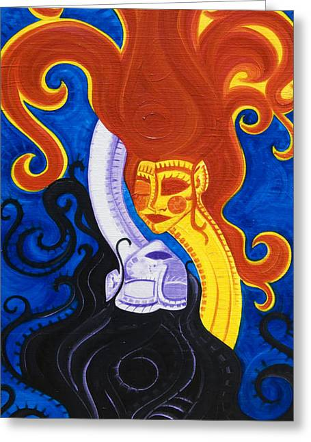 Day And Night Greeting Card by Christine Galas
