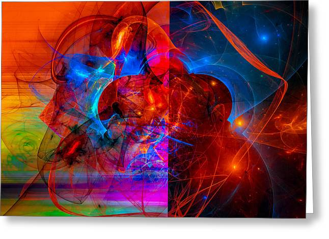 Colorful Digital Abstract Art - Day And Night Greeting Card