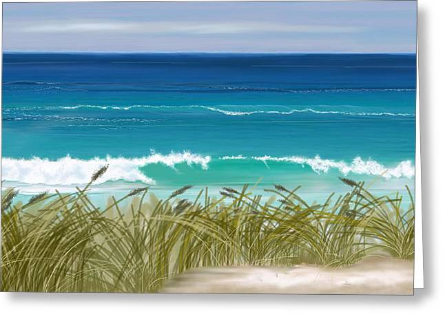 Greeting Card featuring the digital art Day At The Beach by Anthony Fishburne