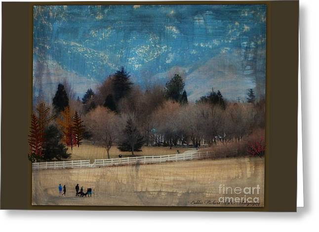 Day At The Park Painting  Greeting Card by Bobbee Rickard