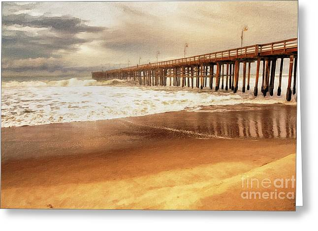Greeting Card featuring the painting Day At The Pier Large Canvas Art, Canvas Print, Large Art, Large Wall Decor, Home Decor, Photograph by David Millenheft
