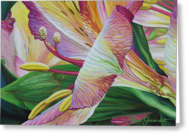 Greeting Card featuring the painting Day Lilies by Jane Girardot