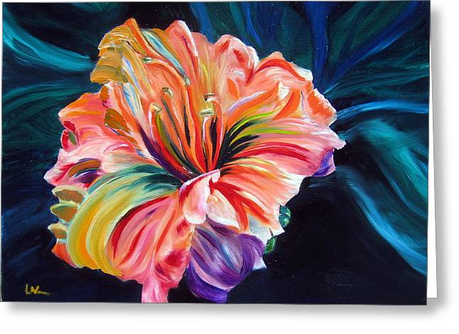 Greeting Card featuring the painting Day Lily by LaVonne Hand