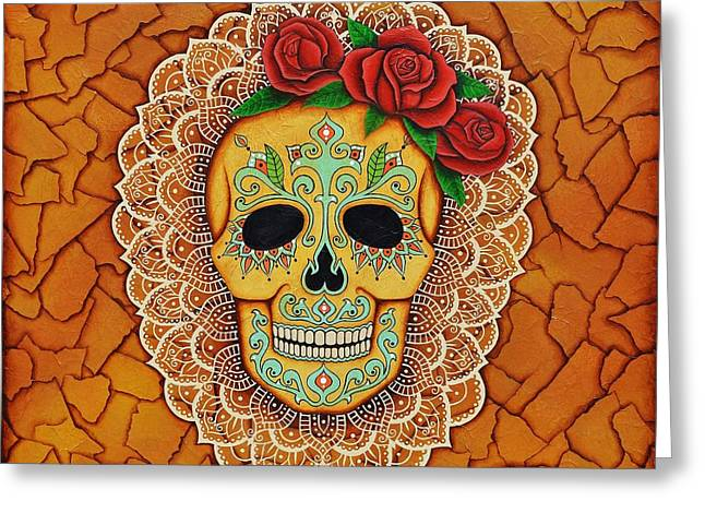 Day Of The Dead With Roses And Lace Greeting Card by Joseph Sonday