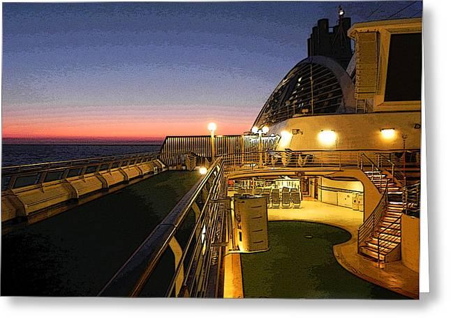 Daybreak At Sea Greeting Card