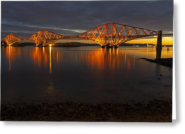 Daybreak At The Forth Bridge Greeting Card