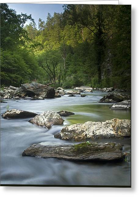 Daybreak In The Valley Greeting Card by Andy Crawford