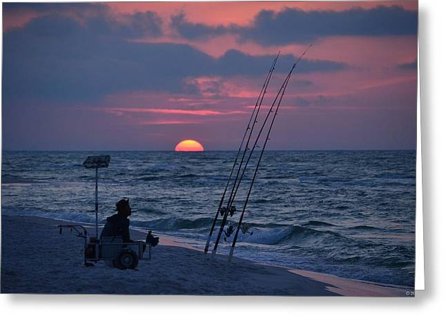 Greeting Card featuring the photograph Daybreak On Navarre Beach With Deng The Fisherman by Jeff at JSJ Photography
