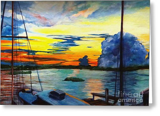 Daybreak Over  Apalachicola River  Greeting Card