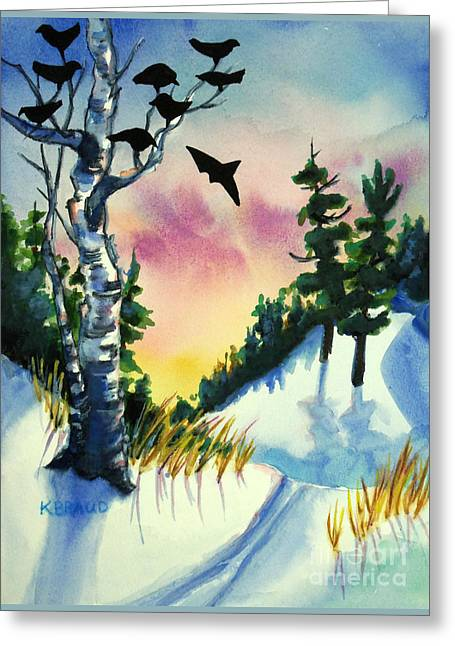 Daybreak Ski              Greeting Card by Kathy Braud