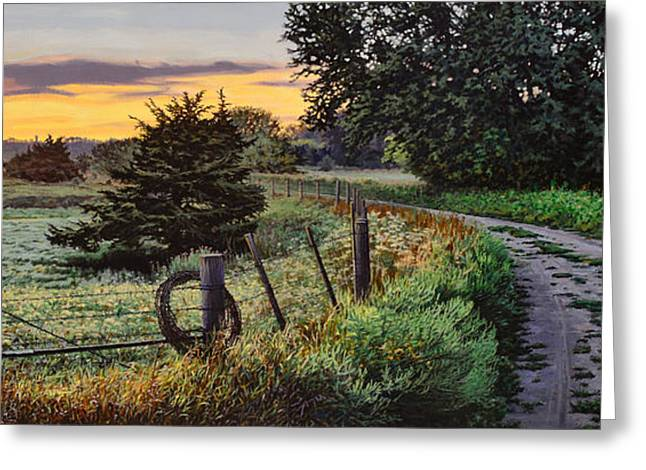 Daybreak Southwest Corner Fenceline Greeting Card