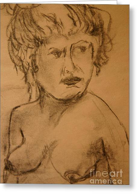 Daydreaming Nude Greeting Card by Gabrielle Schertz