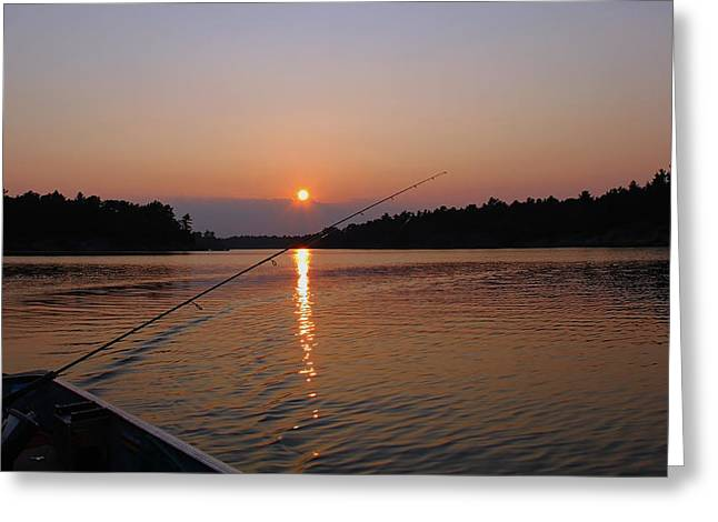 Sunset Fishing Greeting Card by Debbie Oppermann