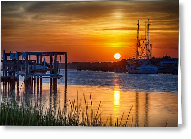 Days End On Water Greeting Card