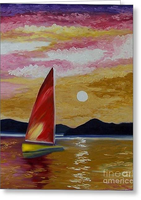 Day's End Greeting Card by Peggy Miller