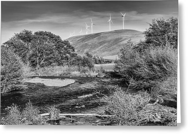 Greeting Card featuring the photograph Dayton River Monochrome by Chris McKenna