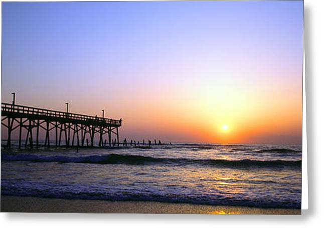 Greeting Card featuring the photograph Daytona Sun Glow Pier  by Tom Jelen