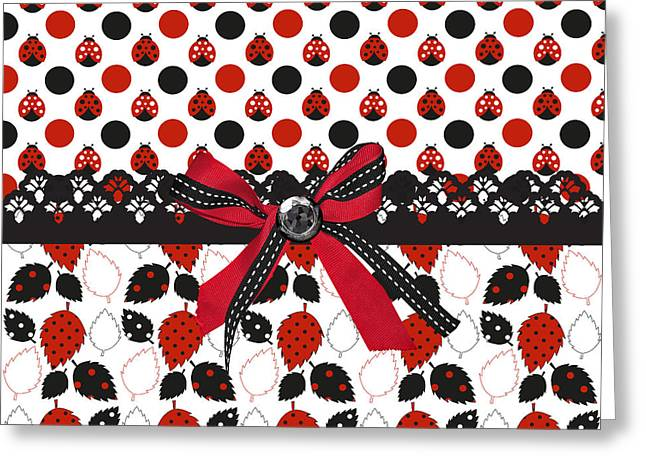 Dazzling Ladybugs  Greeting Card by Debra  Miller