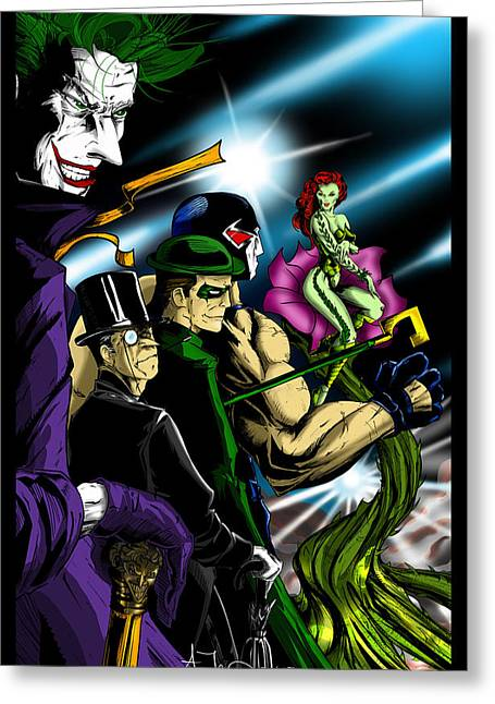 Dc Villains Greeting Card by Alexiss Jaimes