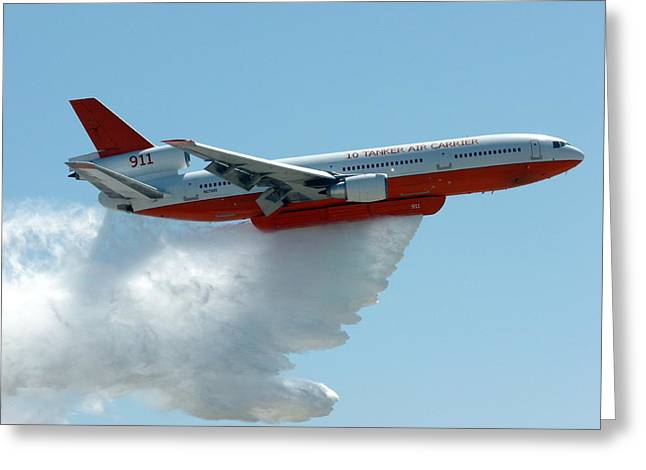 Dc10 Aerial Tanker Dropping Water Greeting Card