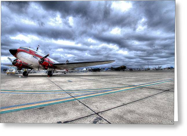 Dc3 And C47 Among The Mustangs At Salinas Air Show Greeting Card by John King