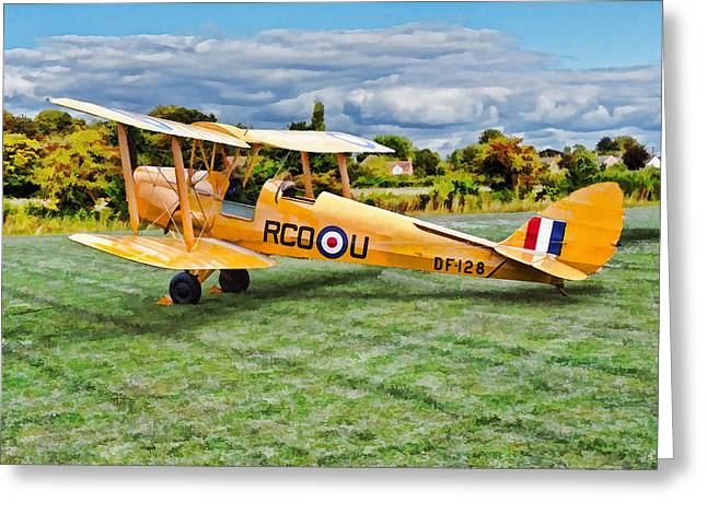 Greeting Card featuring the digital art De Havilland Dh82 Tiger Moth by Paul Gulliver