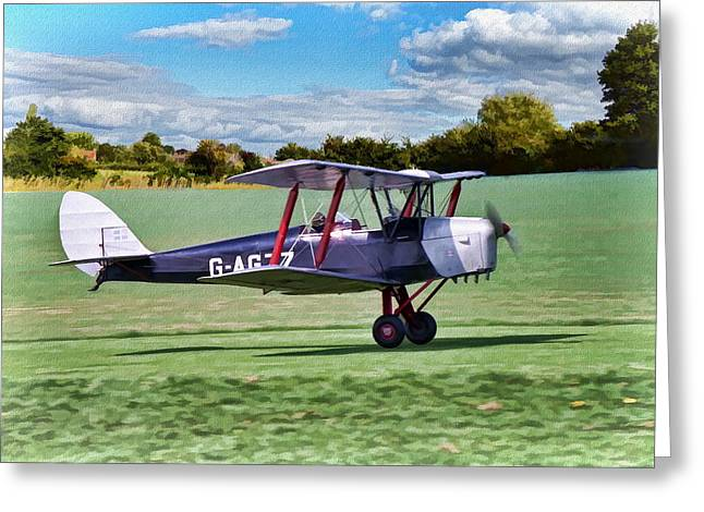 Greeting Card featuring the digital art De Havilland Tiger Moth 2 by Paul Gulliver