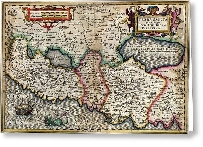 de LIsles map of the Holy Land Greeting Card