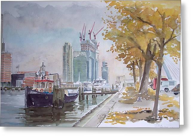 De Maas At Kop Van Zuid Greeting Card by Dick Carlier